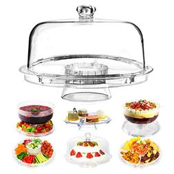 Dome Cake Stand   6 in 1 Multifunctional 12 Inch Serving Pla