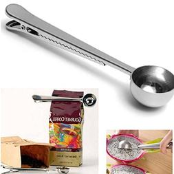 1 Set Stainless Measuring Scoop Spoon with Bag Sealing Clip