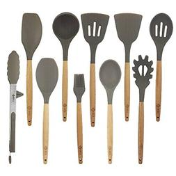 10 Pcs/Set Silicone Kitchen Utensils Set With Beech Wood Han