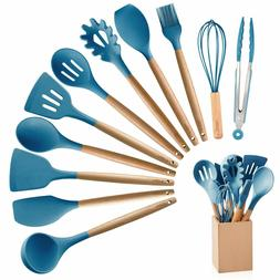 10 Pieces Silicone Cooking Utensils Kitchen Utensil Set with