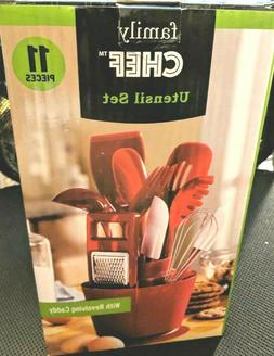 11 Piece Kitchen Set Red Utensil Holder Set w/ Revolving Hol