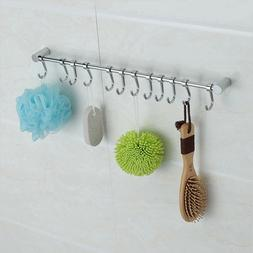 12 Hooks Kitchen Utensil Wall Mount Cupboard Bathroom Hangin