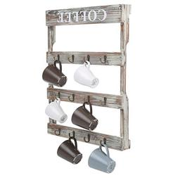 MyGift 12-Hook Rustic Wall-Mounted Wood Coffee Mug Holder, K