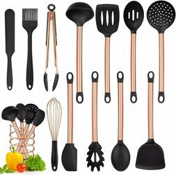 13PCS Kitchen Utensils Set with Holder, Silicone Cooking Kit