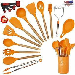 14 Pieces Silicone Cooking Utensils Kitchen Utensil Set with