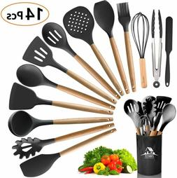 14PCS Silicone Cooking Kitchen Utensils Set with Holder Wood