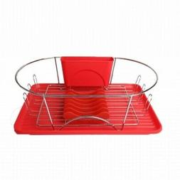 """MegaChef 17"""" Red and Silver Dish Drying Rack w Plate Positio"""