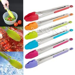 1PCS Silicone Kitchen Cooking Salad Serving BBQ Tongs Stainl