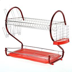 Utheing 2 Tier Dish Drying Rack Stainless Steel with Drainer