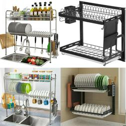 2-Tier Dish Drying Rack Stainless Steel Over Sink Drainer Sh