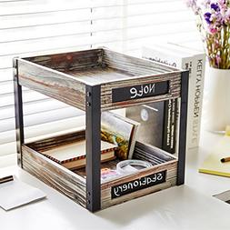 2 Tier Industrial Style Torched Wood Desktop Document Tray,