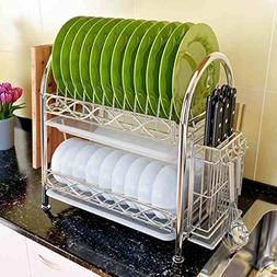 2 Tier Kitchen Dish Drainer With Tray Dish Multifunctional D