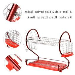 2 Tier Kitchen Dish Drying Rack Stainless Steel Chrome-plate