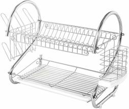 2 Tier Non-Slip Dish Drying Rack with Utensil Holder, Cup Ho