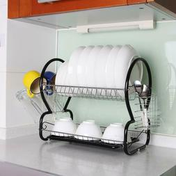 2-Tier Rust-Resistant Steel Dish Rack w/ Drain Tray Utensil