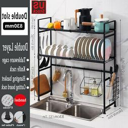 2-Tier Sink Dish Drying Rack Dishes With Utensils Holder Was