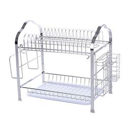 okdeals 2 Tier Stainless Steel Dish Drying Rack With Tray,En