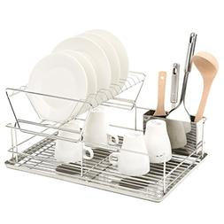 2 Tier Stainless Steel Dish Storage, Drying Rack with Utensi