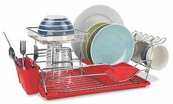 Home Basics 2-Tier Stainless Steel Dish Rack with Drainboard
