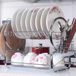 """20.5"""" Stainless Steel 2 Tiers Dish Cup Drying Rack Draining"""