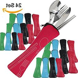 24 Sets Stainless Steel Flatware ~  Lightweight Portable Tab