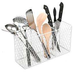 3 Compartment Rustic Chicken Wire Kitchen Utensil Holder Bas
