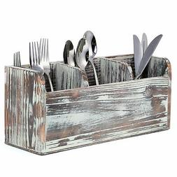 3 Compartment Rustic Torched Wood Utensil Holder, Flatware C