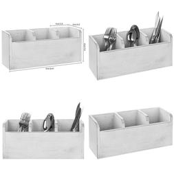 Mygift 3 Compartment Vintage WHITE Wood Utensil Holder Kitch