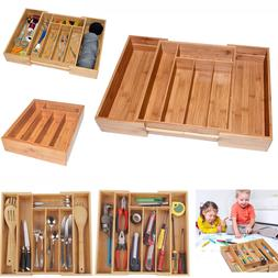 3 inch Deep Expandable Bamboo Wood Cutlery Tray Drawer Utens