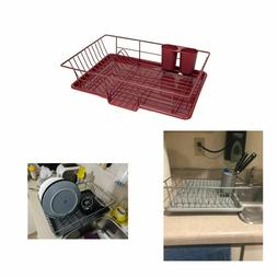 3 Piece Dish Drainer Rack Set with Drying Board Utensil Hold