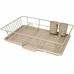 3 Piece Dish Drainer Rack Set Drying Board and Utensil Holde