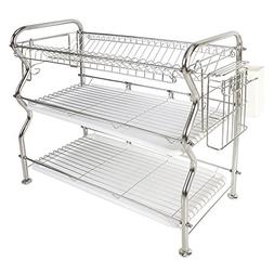 3-Tier Dish Rack,NEX Stainless Steel Cup Utensil Drying Rack