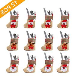 OurWarm 12PCS 3D Bulk Mini Christmas Stockings, Santa Snowma