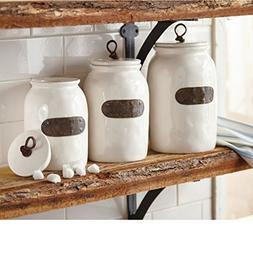 Mud Pie 4934004 Bistro Canister Set of 3, White