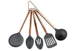 COOK With COLOR 5 Piece Grey Nylon Cooking Utensil Set on a