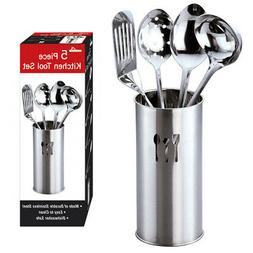 5 Stainless Steel Cooking Utensil Set Kitchen Serving Tools