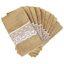 OurWarm 50 Pack 4 x 8 Inch Natural Burlap Utensil Holders Kn