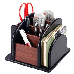 6-Compartment Wood Rotating Remote Caddy/Desktop Office Supp