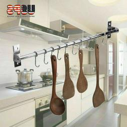 60cm Stainless Wall Mounted 10 Hooks Utensils Holder Hanging