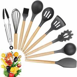 9 Pack Silicone Cooking Utensils Kitchen Utensil Set with Wo