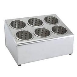 COMMERCIAL 6-HOLE STAINLESS STEEL CYLINDER FLATWARE SILVERWA