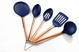 COOK With COLOR 5 Piece Navy Nylon Cooking Utensil Set on a
