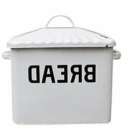 """Creative Co-Op Distressed White""""BREAD"""" Box with Lid"""