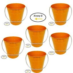 Italia 6-Pack Metal Bucket Color Orange Size 4.3x 4.3""
