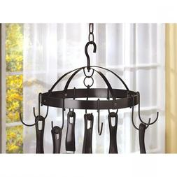 KITCHEN Mini RACK Round Hanging Black PAN POT and Utensil HO