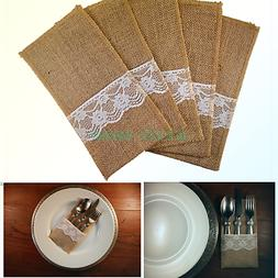 Katara Decor - Premium Burlap Utensil Holders Cutlery 4x8 in