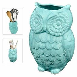 MyGift Aqua Blue Owl Design Ceramic Cooking Utensil Holder /
