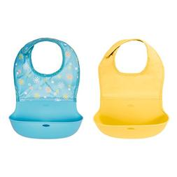 OXO Tot Waterproof Silicone Roll Up Bib with Comfort-Fit Fab