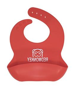 Red Monkey  Waterproof Easy Clean Kids Safe Silicone Bibs Fo