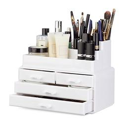 Relaxdays Makeup Organizer with 4 Drawers, Cosmetics Holder